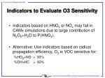 indicators to evaluate o3 sensitivity