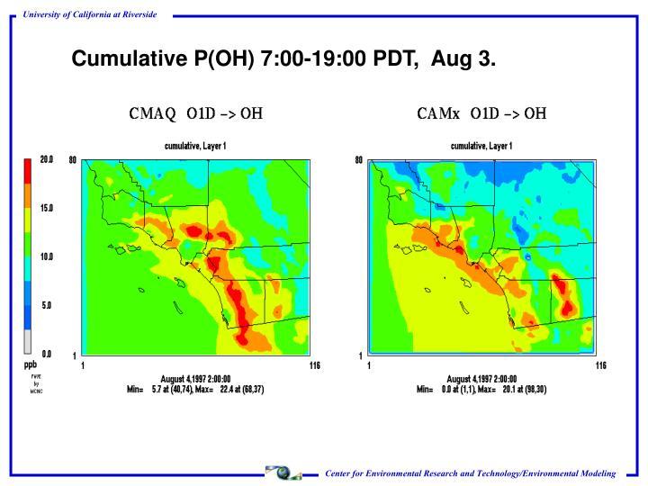 Cumulative P(OH) 7:00-19:00 PDT,  Aug 3.