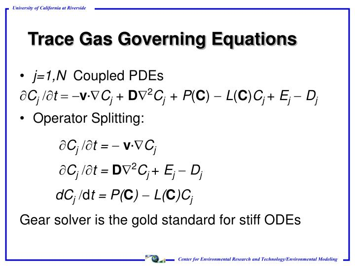 Trace Gas Governing Equations