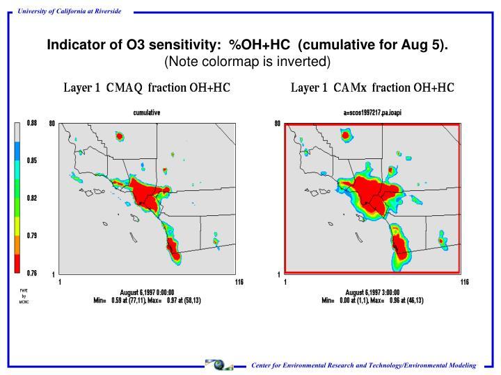 Indicator of O3 sensitivity:  %OH+HC  (cumulative for Aug 5).