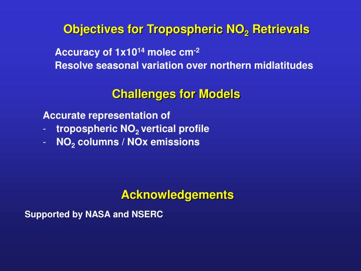 Objectives for Tropospheric NO