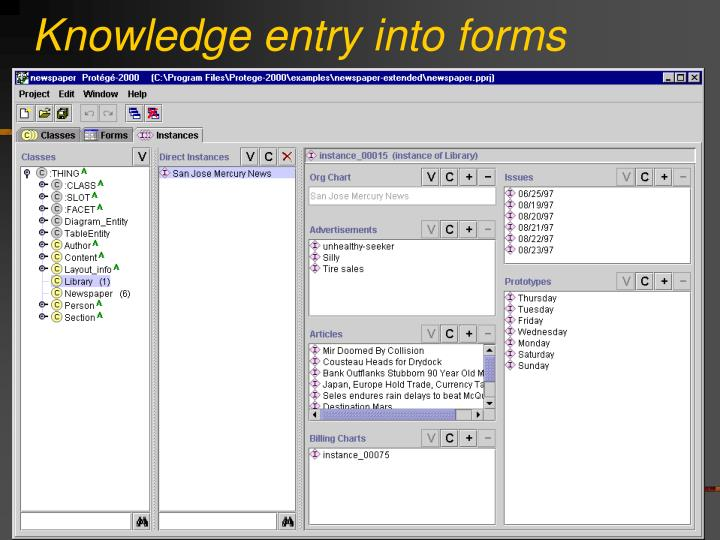 Knowledge entry into forms