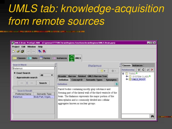 UMLS tab: knowledge-acquisition from remote sources