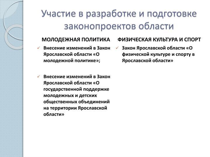 Участие в разработке и подготовке законопроектов области