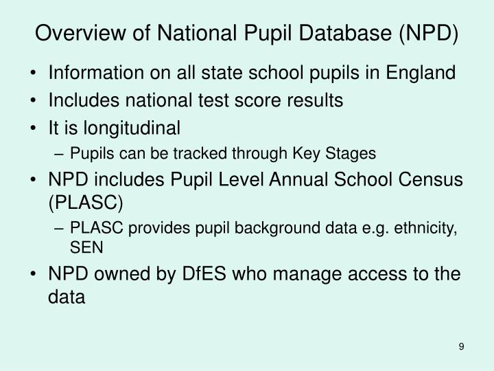 Overview of National Pupil Database (NPD)