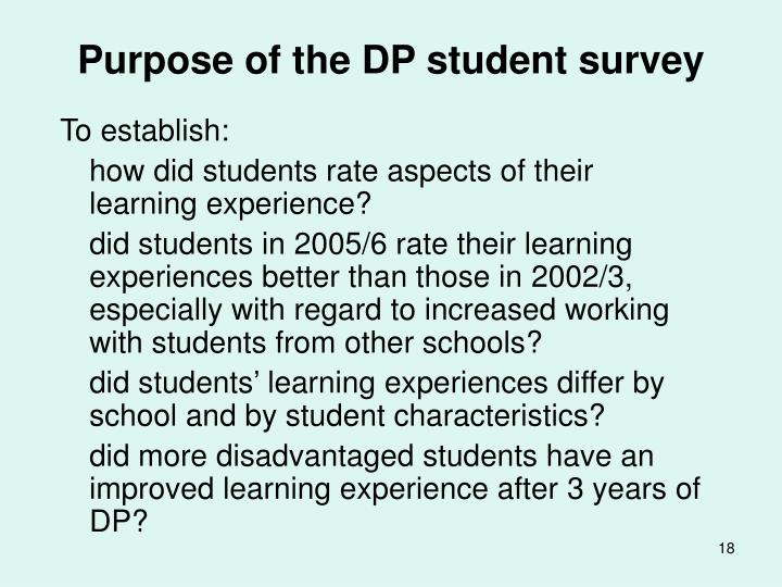 Purpose of the DP student survey