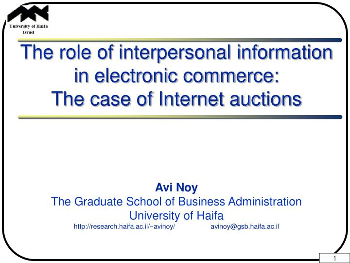 The role of interpersonal information in electronic commerce: