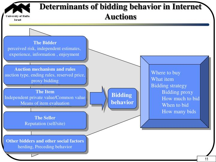 Determinants of bidding behavior in Internet Auctions