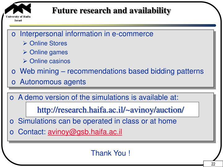 Future research and availability