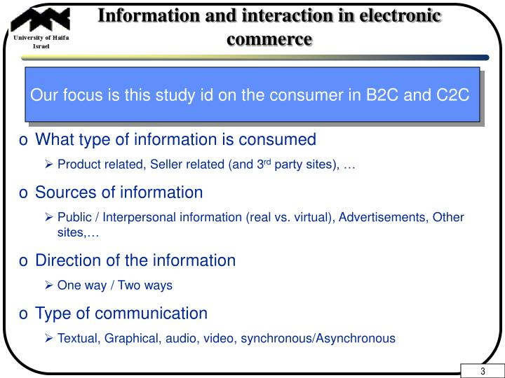 Information and interaction in electronic commerce