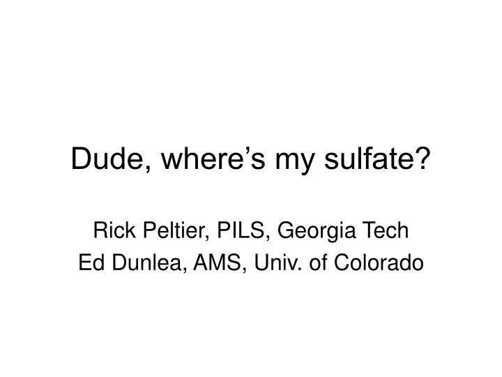 Dude, where's my sulfate?