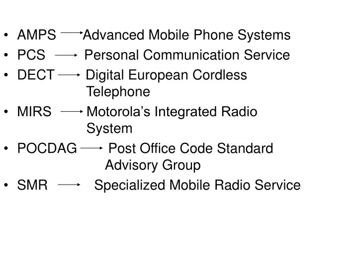 AMPS       Advanced Mobile Phone Systems