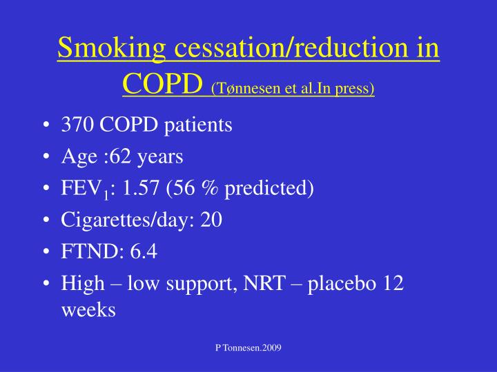 Smoking cessation/reduction in COPD