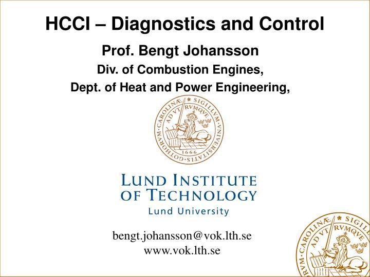 HCCI – Diagnostics and Control
