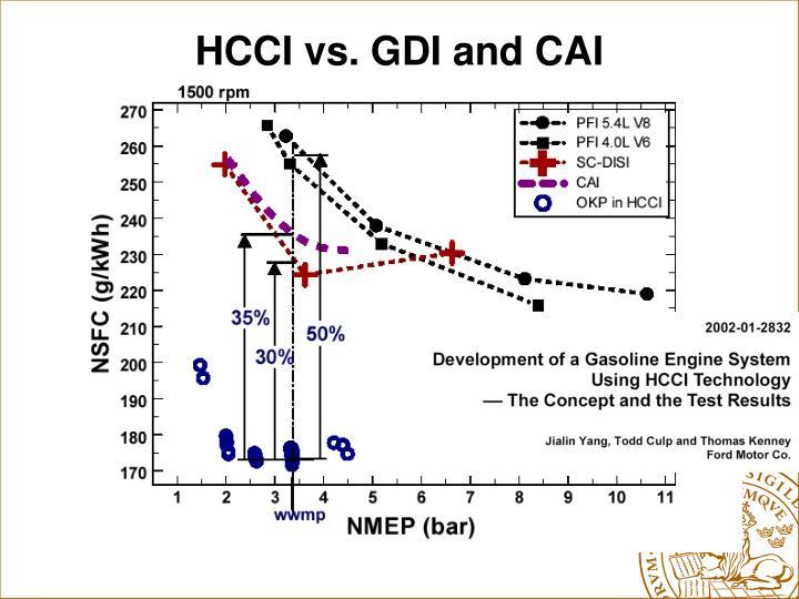 HCCI vs. GDI and CAI