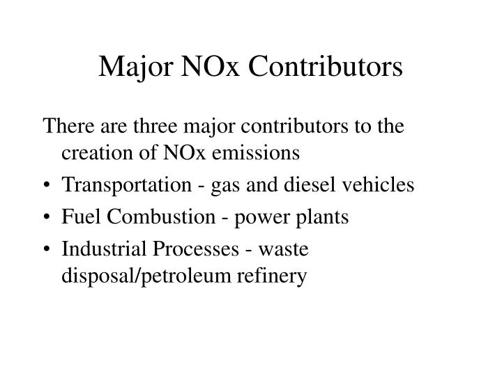 Major NOx Contributors