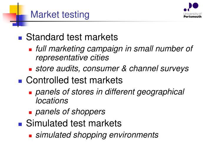 Market testing