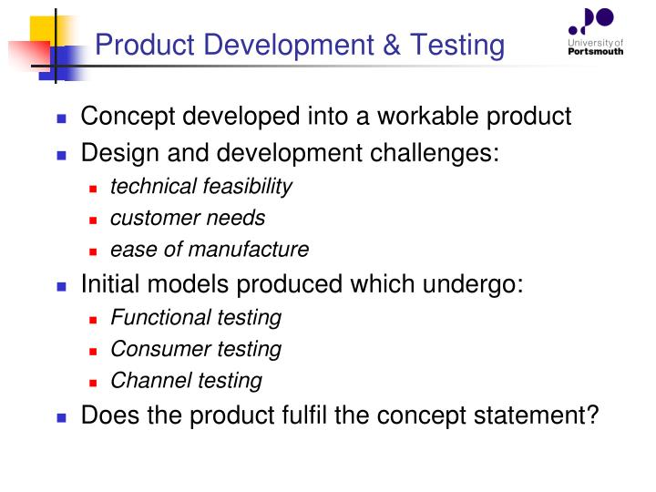 Product Development & Testing
