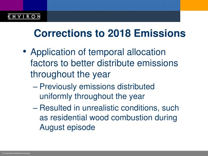 Corrections to 2018 Emissions