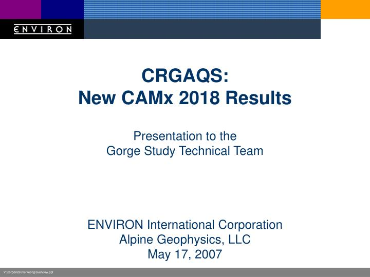 crgaqs new camx 2018 results