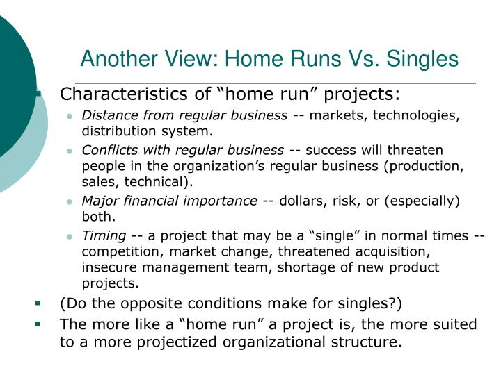 Another View: Home Runs Vs. Singles