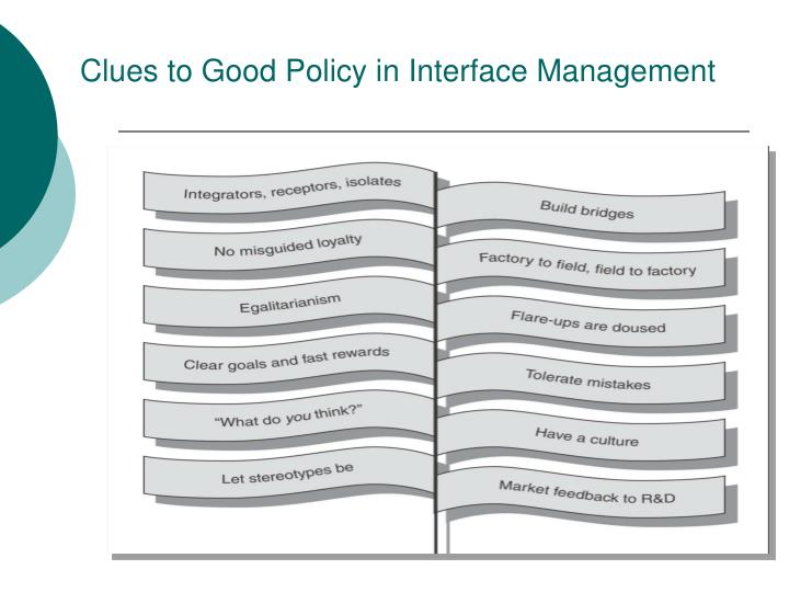 Clues to Good Policy in Interface Management