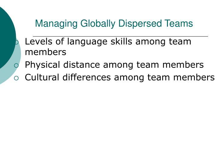 Managing Globally Dispersed Teams