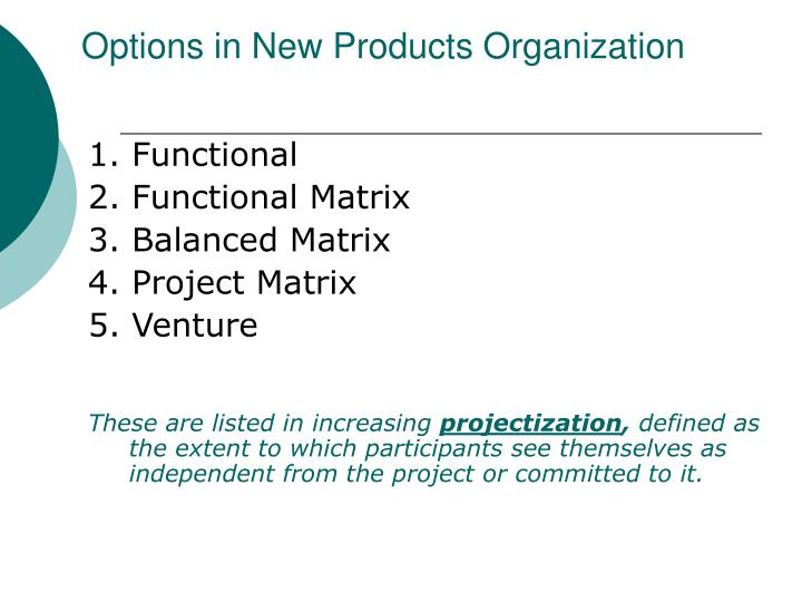 Options in New Products Organization