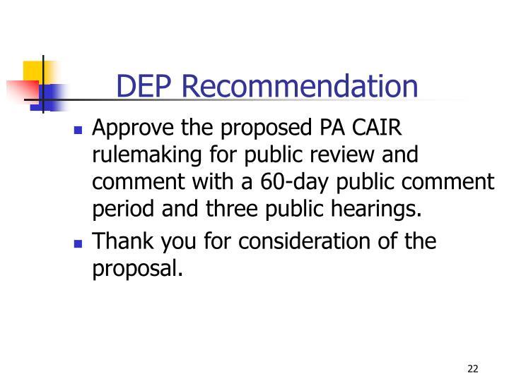 DEP Recommendation