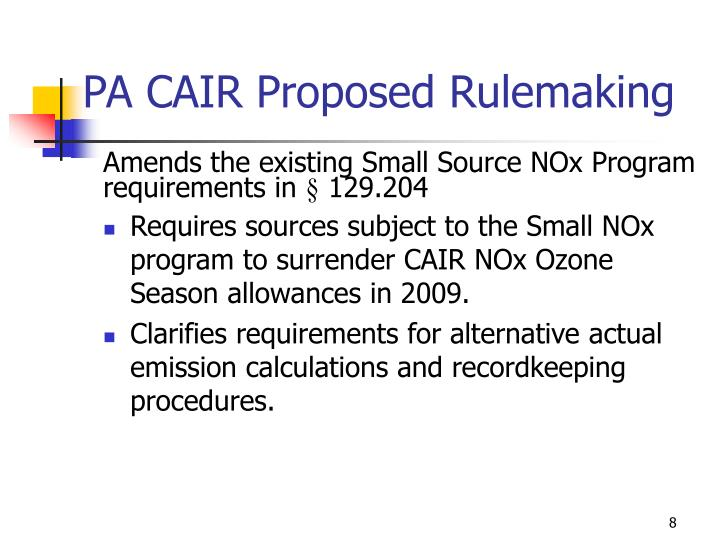 PA CAIR Proposed Rulemaking