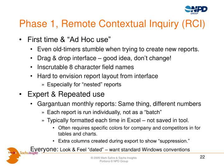 Phase 1, Remote Contextual Inquiry (RCI)