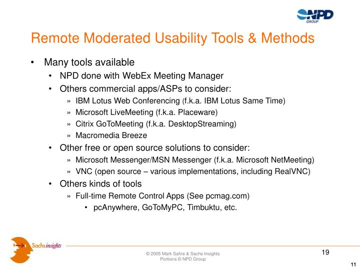 Remote Moderated Usability Tools & Methods