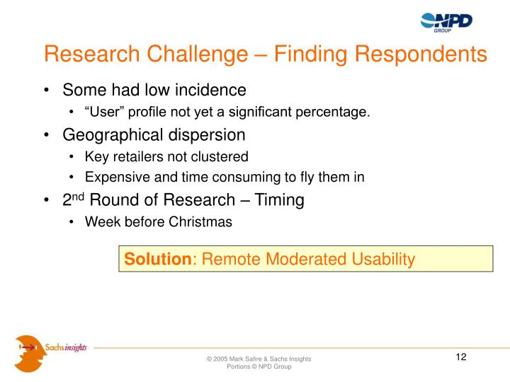 Research Challenge – Finding Respondents