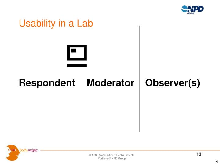 Usability in a Lab