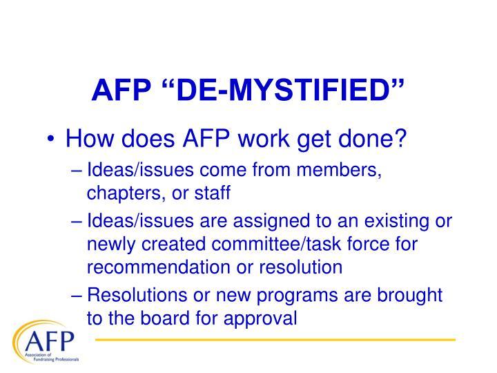 """AFP """"DE-MYSTIFIED"""""""