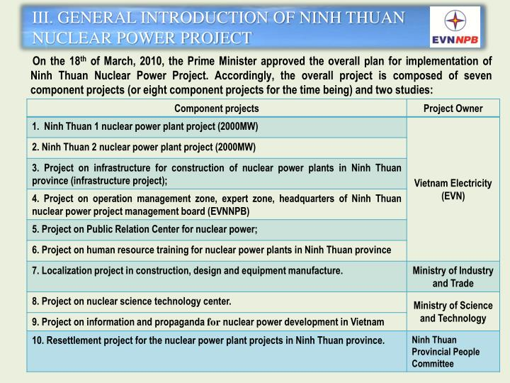 III. GENERAL INTRODUCTION OF NINH THUAN NUCLEAR POWER PROJECT