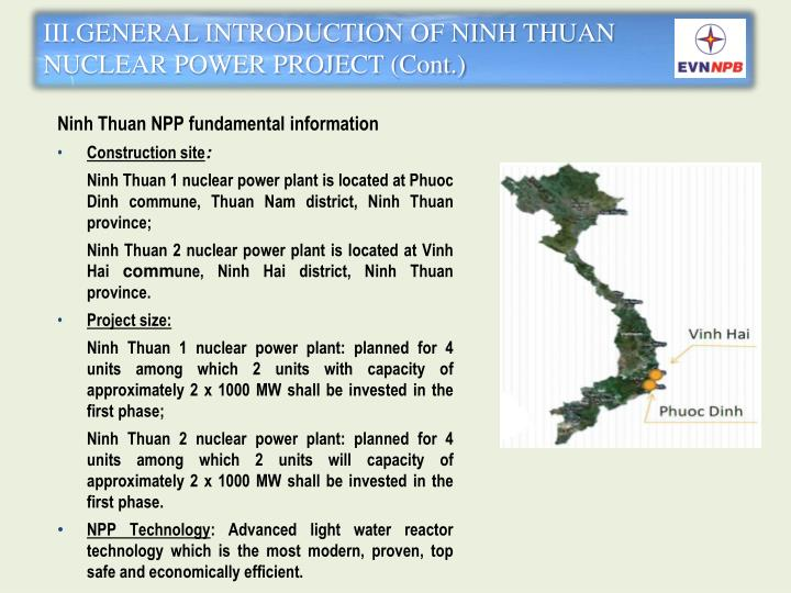 III.GENERAL INTRODUCTION OF NINH THUAN NUCLEAR POWER PROJECT (Cont.)