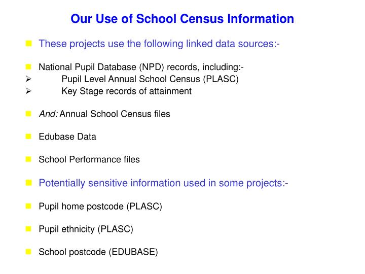 Our Use of School Census Information