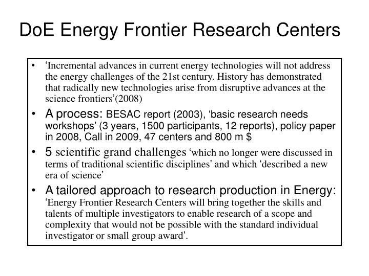 DoE Energy Frontier Research Centers