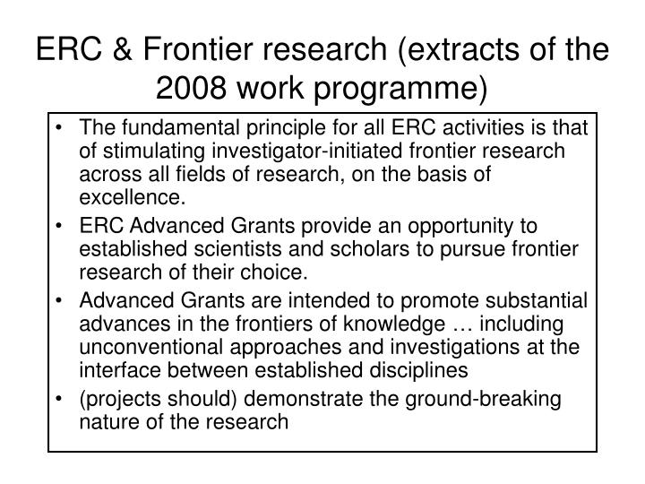 ERC & Frontier research (extracts of the 2008 work programme)
