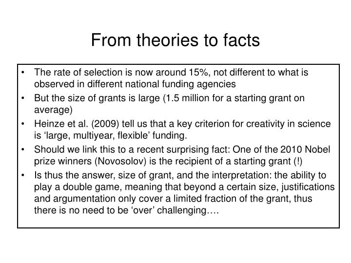 From theories to facts