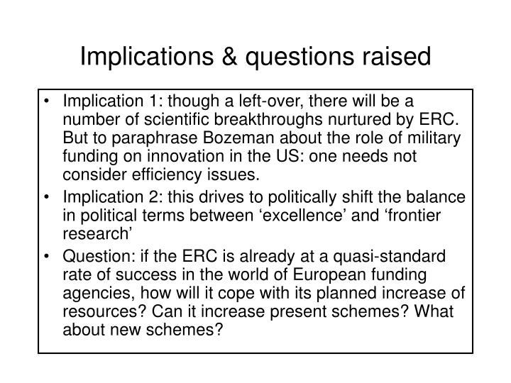 Implications & questions raised