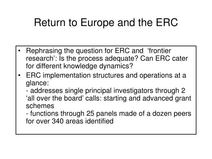 Return to Europe and the ERC