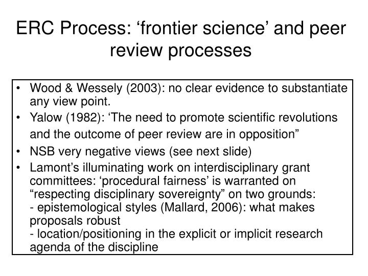 ERC Process: 'frontier science' and peer review processes