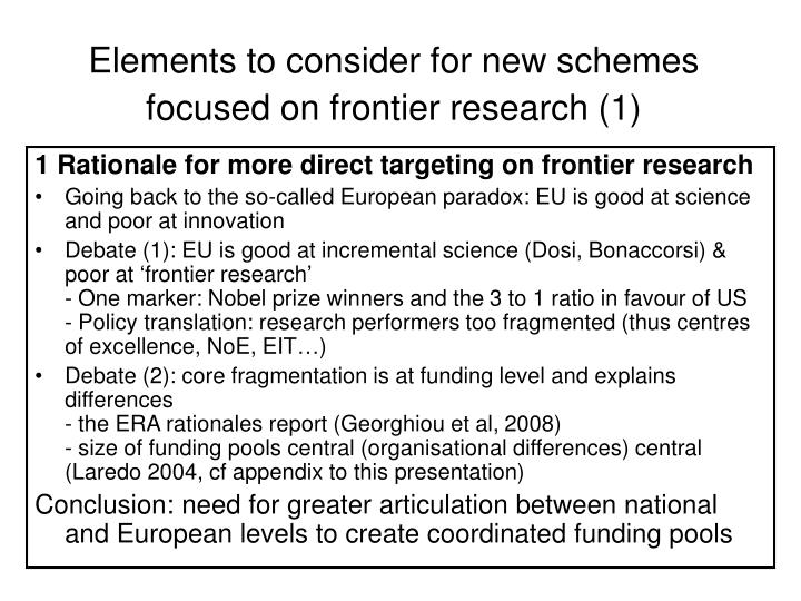 Elements to consider for new schemes focused on frontier research (1)
