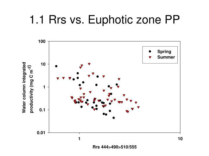 1.1 Rrs vs. Euphotic zone PP