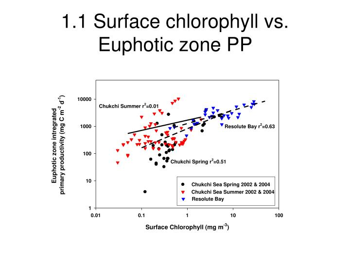1.1 Surface chlorophyll vs. Euphotic zone PP