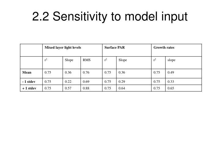 2.2 Sensitivity to model input