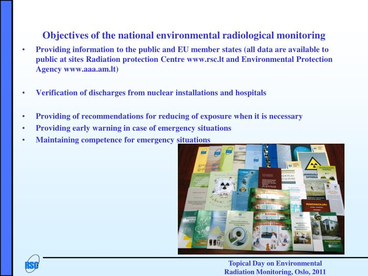 Objectives of the national environmental radiological monitoring