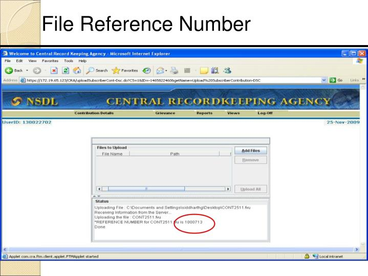 File Reference Number
